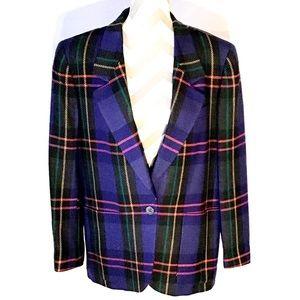 Vintage Jewel Tone Plaid Wool Blazer